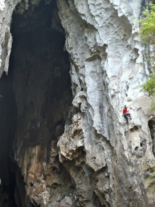 Gerd Deiter on a 7a+ at the Lazy Dragon Cave, Getu